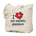 I Love My Autistic Grandson Tote Bag