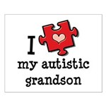 I Love My Autistic Grandson Small Poster