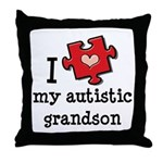 I Love My Autistic Grandson Throw Pillow