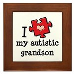 I Love My Autistic Grandson Framed Tile