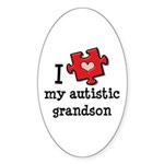 I Love My Autistic Grandson Oval Sticker