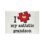 I Love My Autistic Grandson Rectangle Magnet (100