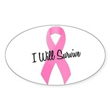 Pink Ribbon I Will Survive Oval Decal