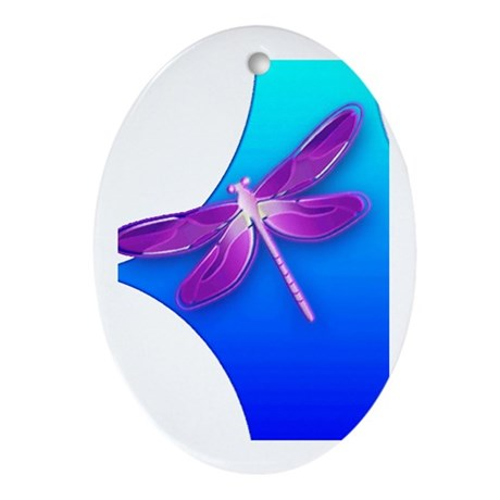 Pretty Dragonfly Oval Ornament