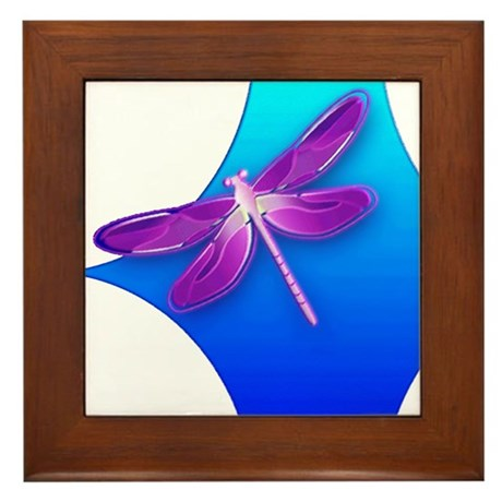 Pretty Dragonfly Framed Tile