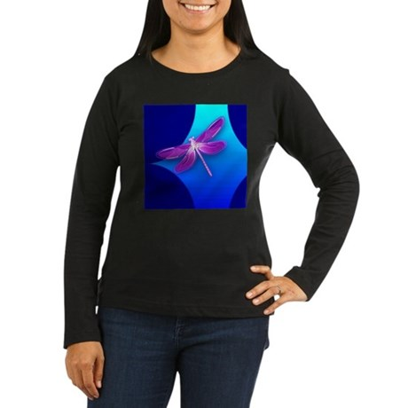 Pretty Dragonfly Women's Long Sleeve Dark T-Shirt