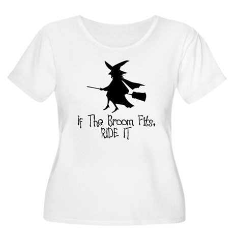 If the Broom Fits Womens Plus Size Scoop Neck T-S