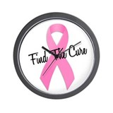 Pink Ribbon Find The Cure Wall Clock
