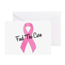 Pink Ribbon Find The Cure Greeting Cards (Pk of 10