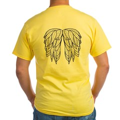 White Angel Wings on back Yellow T-Shirt