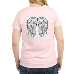 White Angel Wings on back Women's Pink T-Shirt
