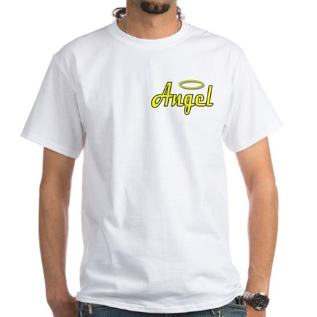 Soft Golden Angel Wings on back White T-Shirt