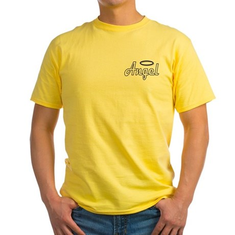 Goth Angel Wings on back Yellow T-Shirt