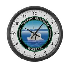 Think Green Polar Bear Wasilla Large Wall Clock