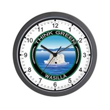 Think Green Polar Bear Wasilla Wall Clock