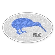 Vintage Blue NZ Kiwi Oval Decal