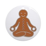 Meditating Gingerbread Man Ornament (Round)