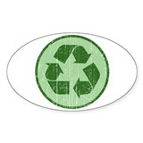 Distressed Recycle Sign Oval Decal