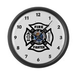 Firefighters Think Green Large Wall Clock