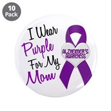 "I Wear Purple For My Mom 18 (AD) 3.5"" Button (10 p"