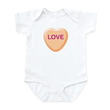 LOVE Orange Candy Heart Infant Bodysuit