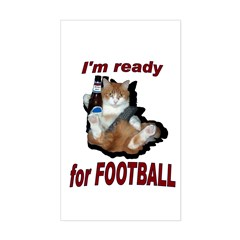 Ready for Football Cat Rectangle Sticker