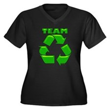 TEAM RECYCLE Women's Plus Size V-Neck Dark T-Shirt