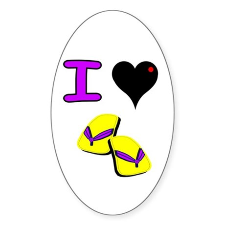I love flip flops Oval Sticker