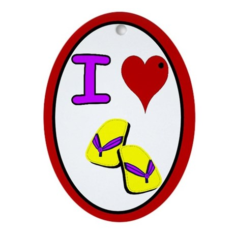 I love flip flops Keepsake Oval Ornament