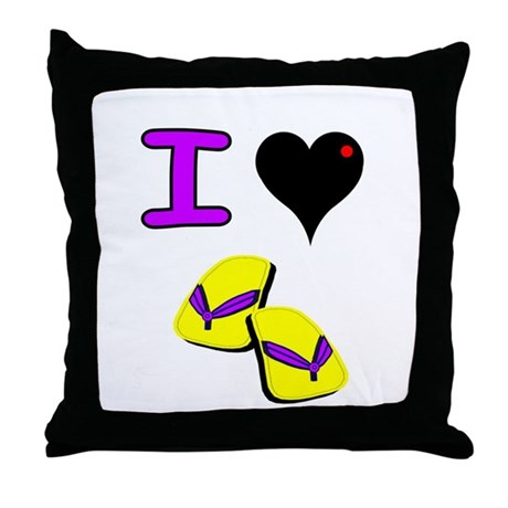 I Love Flip Flops Fun Throw Pillow