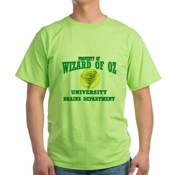 Property of Brains Logo Green T-Shirt | Wonderful Wizard of Oz Clothing | Wizard of Oz T-Shirts