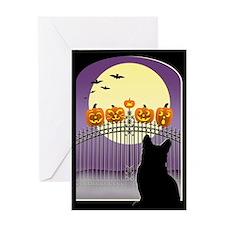 Spooky Cat Halloween Greeting Card