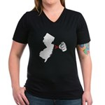 NJ > U Women's V-Neck Dark T-Shirt