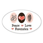 Peace Love Forensics Oval Sticker