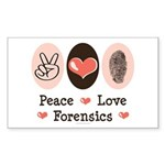 Peace Love Forensics Rectangle Sticker