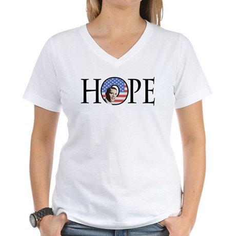 Obama Patriotic Hope Women's V-Neck T-Shirt