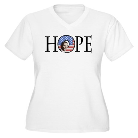 Obama Patriotic Hope Women's Plus Size V-Neck T-Sh