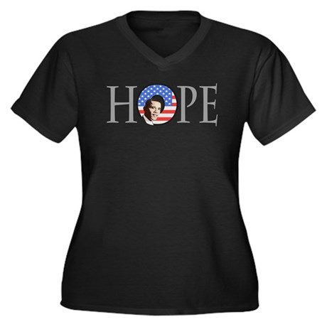 Obama Patriotic Hope Women's Plus Size V-Neck Dark