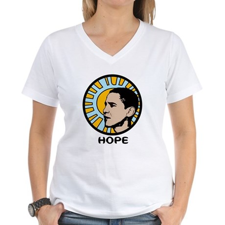 Obama Sun Hope Women's V-Neck T-Shirt
