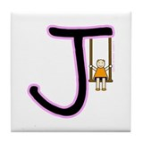 J (Girl) Tile Coaster