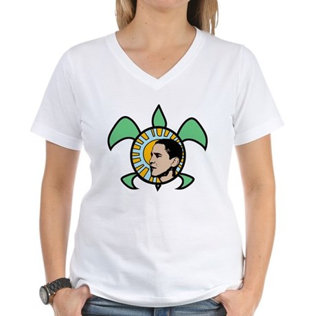 Obama Sun Sea Turtle Women's V-Neck T-Shirt