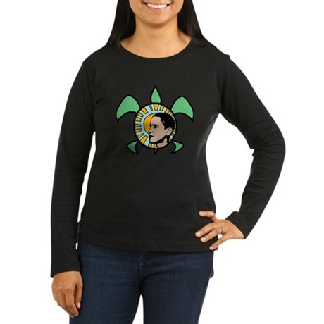 Obama Sun Sea Turtle Women's Long Sleeve Dark T-Sh