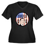 Obama 08 Women's Plus Size V-Neck Dark T-Shirt