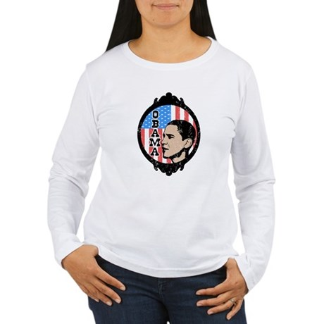 Obama Flag Frame (Old Style) Women's Long Sleeve T