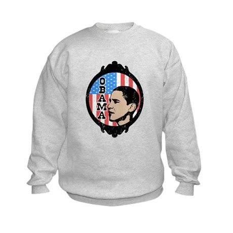 Obama Flag Frame (Old Style) Kids Sweatshirt