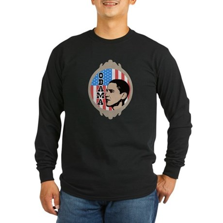 Obama Flag Frame Long Sleeve Dark T-Shirt