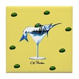Yellow Martini Tile Coaster