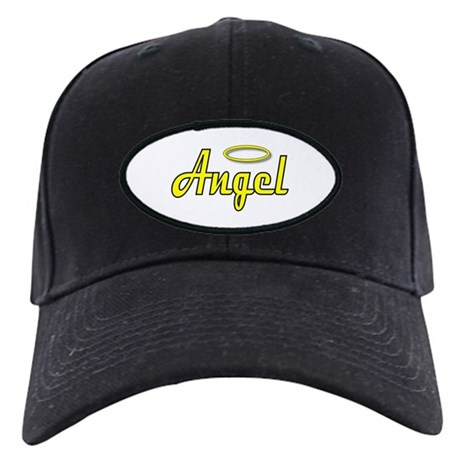 Soft Golden Angel Wings on back Black Cap