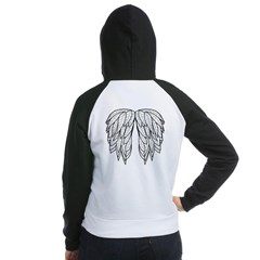 White Angel Wings on back Women's Raglan Hoodie