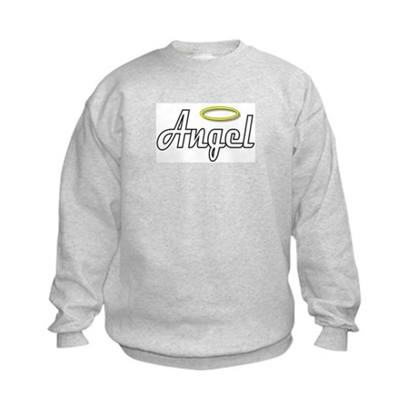 White Angel Wings on back Kids Sweatshirt